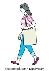 Vector illustration full length character of pretty woman, carrying canvas bag, walking. Outline, linear, thin line art, hand drawn sketch design, simple style.