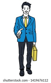 Vector illustration full length character of young, handsome businessman, giving a handshake, and holding briefcase. Linear, thin line art, hand drawn sketch design.