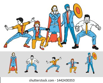 Vector illustration full length character of cheerful business people, teamwork, wearing and pose as superhero, funny and happy. Separated layer, easy to use. Linear, thin line art style.