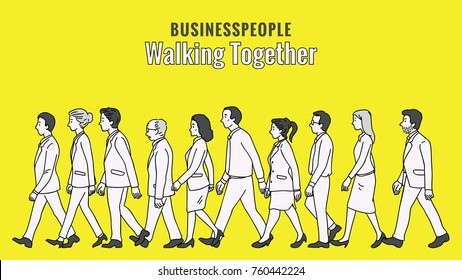 Vector illustration full length character of businesspeople, man and woman, walking together in the same direction, diversity, multi-ethnic. Outline, linear, thin line art, hand drawn sketch.