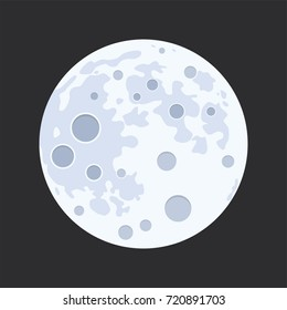 vector illustration of full moon isolated on black background. flat design style of abstract moon surface