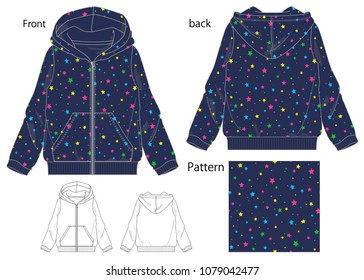 vector illustration of a full zip parka for a girl. Front and back views.