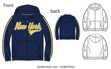 Vector illustration of full zip parka. Front and back views
