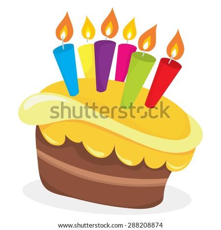 Vector Illustration Fun Cartoon Birthday Cake Stock Vector Royalty