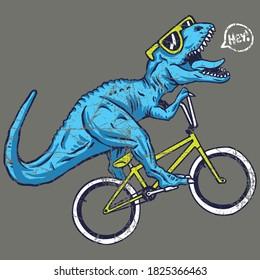 Vector illustration of Fun cycling dinosaur