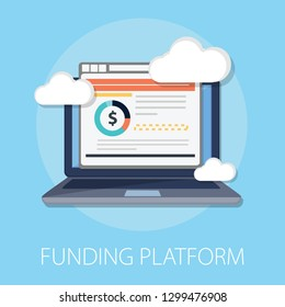 "Vector illustration of funding platform & money fund concept with ""funding platform"" finance icon. money symbol."