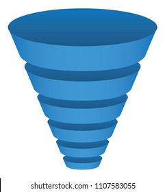 Vector illustration of a funnel in segments with a modern blue gradient style