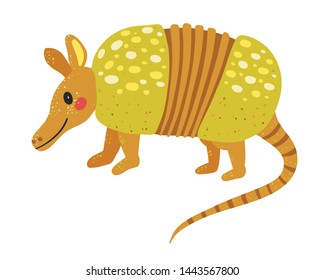 Vector illustration of Funny armadillo cartoon  - flat coloring style - cute Vector illustration for children  Adorable Pleistocene Animal Character