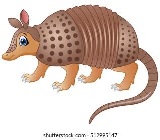 Vector illustration of Funny armadillo cartoon
