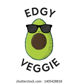 Vector illustration of a funny avocado character with sunglasses. Edgy Veggie. Funny food pun concept.
