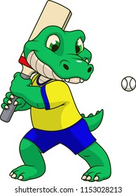 Vector illustration, funny  baby crocodile playing cricket, on a white background
