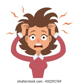Vector illustration of funny brunette stressed woman with her hands on the head and wide opened mouth.