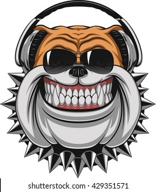 Vector illustration of funny bulldog wearing headphones listening to music, smiling