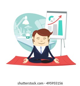 Vector illustration Funny businessman wearing suit doing yoga meditating pose lotus in front his office workplace. Flipchart with up arrow behind. Flat style, white background