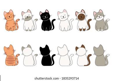 Vector illustration of funny cartoon cats breeds set.