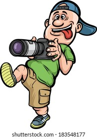 Vector illustration of funny cartoon character - walking photographer. Easy-edit layered vector EPS10 file scalable to any size without quality loss.