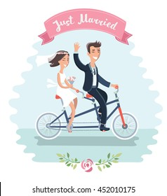 Vector illustration of funny cartoon couple: Bride and groom riding tandem bicycle at the their wedding and hand drawn lettering of words just married on pink ribbon