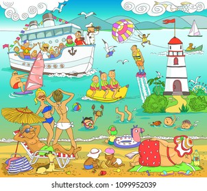 Vector. Illustration. Funny cartoon. The plot of vacationers are people on the sea beach. Fun on the water.