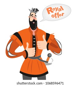Vector illustration of funny cartoon prince with a speech bubble. Royal offer icon. Isolated fairy tale character on a white background