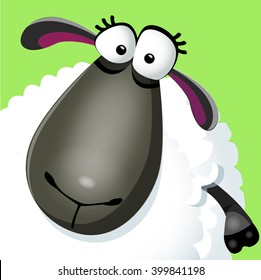 Vector illustration of funny cartoon sheep character on green grass background. Vector illustration.
