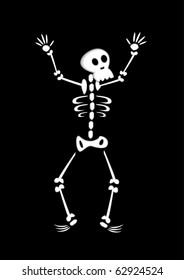 Vector illustration of funny cartoon skeleton on black