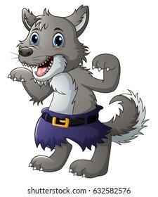 Vector Illustration of Funny cartoon wolf