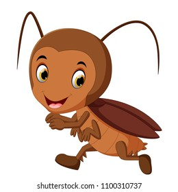 vector illustration of funny cockroach running