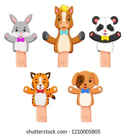 vector illustration of a funny colections of puppet pet animal