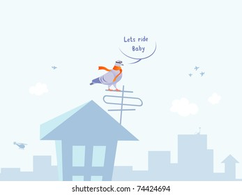 Vector illustration of funny cool pigeon pilot on the roof