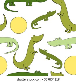 Vector illustration. Funny and cute green crocodiles and sun. Seamless pattern