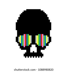 Vector illustration of funny, cute pixel skull. Pixel art. 8 bit.