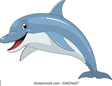 Vector illustration of a funny dolphin jumping fun on a white background