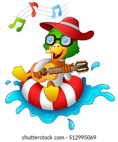 Vector illustration of Funny duck cartoon enjoying on the lifebuoy with playing guitar and singing