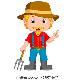 vector illustration of funny farmer cartoon