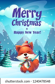 Vector illustration funny fox greeting card Merry Christmas. For web, video games, user interface, design.