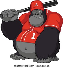 Vector illustration, funny gorilla with a baseball bat