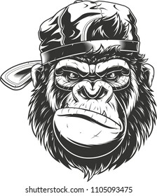 Vector illustration of a funny gorilla head in baseball cap, isolated image, on a white background