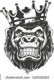 Vector illustration of a funny gorilla head in crown, isolated image, on a white background