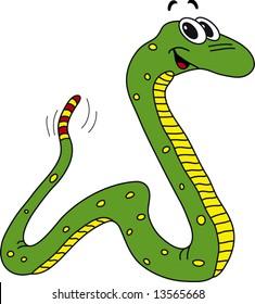 Vector illustration of funny green snake