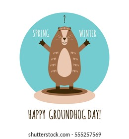 Vector illustration of funny groundhog.  Vintage card with cute marmot and text.  Design for Groundhog day.  Flat style.