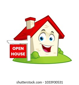 Vector illustration of a funny house with a open house sign