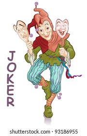 Vector illustration, funny joker with masks, card concept, white background.