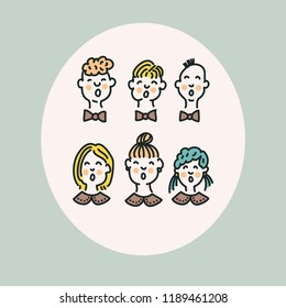 Vector illustration of funny little choir. Concept for postcards, invitations, poster prints.