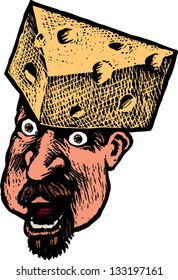 Vector illustration of funny man cheese on his head