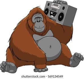 Vector illustration of funny monkey orangutan enjoys listening to music, sitting with the recorder