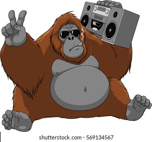 Vector illustration of funny monkey orangutan enjoys listening to music, sitting with the recorder, smoking a cigarette