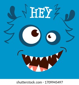 Vector illustration of funny monster. Fantasy  creature party card design. Cute monster face with teeth and eyes.