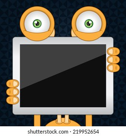 Vector illustration. Funny orange cartoon alien with black background and empty tablet computer. Closeup.