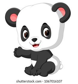 vector illustration of funny panda cartoon