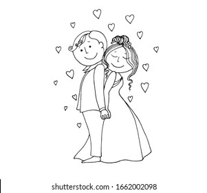 vector illustration with funny people on a wedding theme. On white background